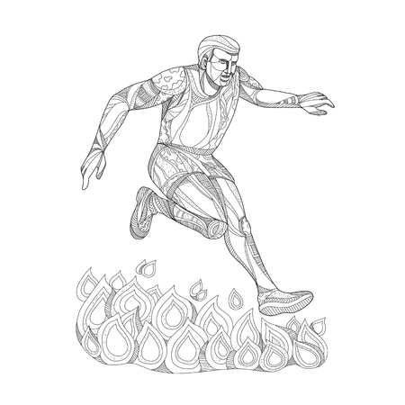Doodle art illustration of an obstacle course event racer jumping over fire on isolated background done in black and white.