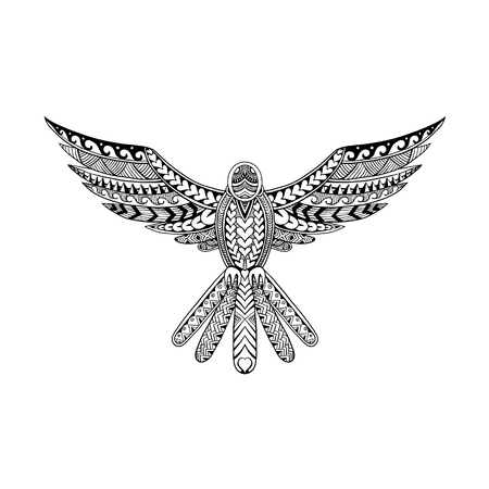 孤立した背景に正面から広がる翼を持つハトの飛ぶ鳩の部族の入れ墨スタイルのイラスト。