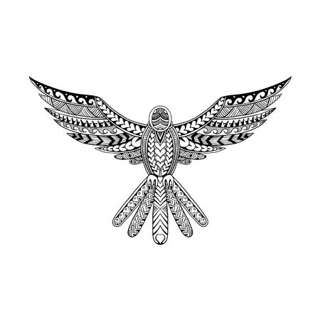 De stammenillustratie van de tatoegeringsstijl van een duif die hangt met uitgespreide vleugels hangt die van voorzijde op geïsoleerde achtergrond wordt bekeken.