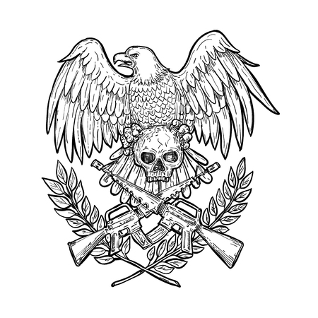 Drawing sketch style illustration of an American bald eagle with wings spead clutching a skull with crossed armalite assault rifle and laurel leaf on isolated background.