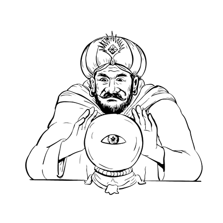Drawing sketch style illustration of a fortune teller, medium, psychic, mystic,seer, soothsayer, clairvoyant scrying on a crystal ball with eye on white background. Illustration