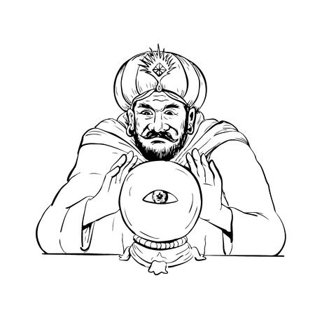 Tekening schets stijl illustratie van een waarzegster, medium, paranormaal, mysticus, ziener, waarzegger, helderziende scrying op een kristallen bol met oog op witte achtergrond. Stock Illustratie