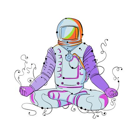 우주 비행사, 우주 비행사 또는 Padmasana 연꽃 명상 또는 흑인과 백인을 이루어 요가 위치에 교차 다리와 아사 나 앉아 우주인의 낙서 예술 그림.
