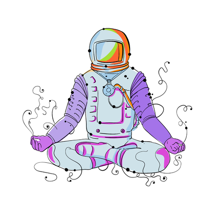 Doodle art illustration of an astronaut, cosmonaut or spaceman sitting asana  with crossed legs in Padmasana lotus meditation or yoga position done in black and white. Illustration