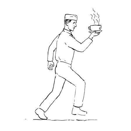 レトロなスタイルのウェイターが走り、孤立した背景の側面から見たコーヒーのホットカップを提供するスケッチスタイルのイラストを描きます。  イラスト・ベクター素材