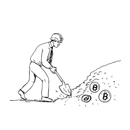 Drawing sketch style illustration of bitcoin miner mining digging with spade for Crytocurrency viewed from side on isolated background. Illustration