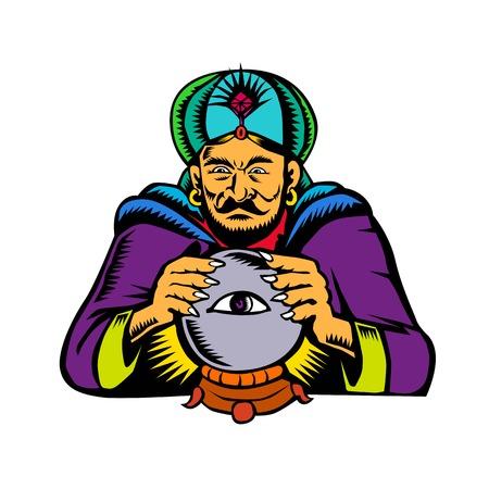 점쟁이, 매체, 초자연적 인, 신비한, 예언자, soothsayer 또는 격리 된 backgroubd에 눈을 가진 크리스탈 공에 clousvoyant scrying의 레트로 목 판화 스타일 일러스