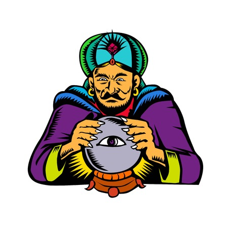 Retro woodcut style illustration of fortune teller, medium, psychic, mystic,seer, soothsayer or clairvoyant scrying on a crystal ball with eye on isolated backgroubd.