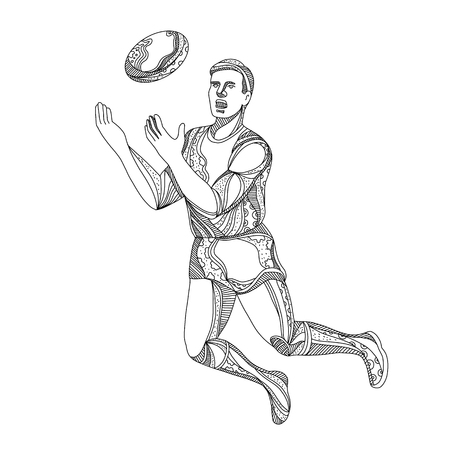 Doodle art illustration of an Aussie Rules football, Australian football or Australian rules football player jumping, rebounding or catching the ball done in black and white. Stock Vector - 94974462