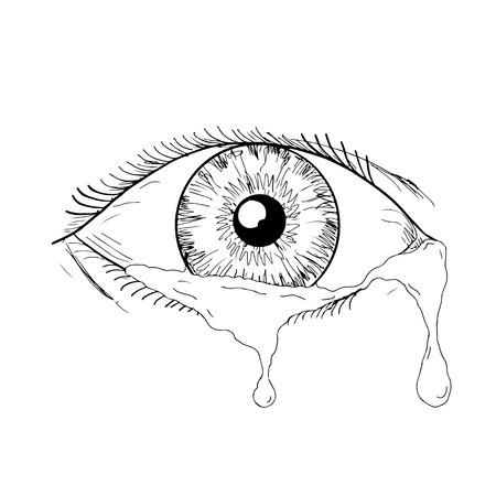 Tekening schets stijl illustratie van een menselijk oog huilen en knipperen met tranen stromen geïsoleerd op een witte achtergrond.