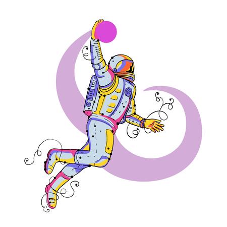 宇宙飛行士、宇宙飛行士や宇宙飛行士のジャンプと孤立した背景にバスケットボールをダンクの落書きアートイラスト。