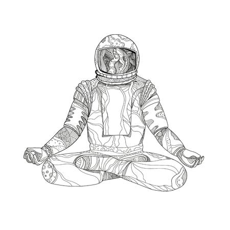 Mandala art illustration d'un astronaute, cosmonaute ou astronaute assis asana avec les jambes croisées dans la méditation de lotus Padmasana ou la position de yoga en noir et blanc.