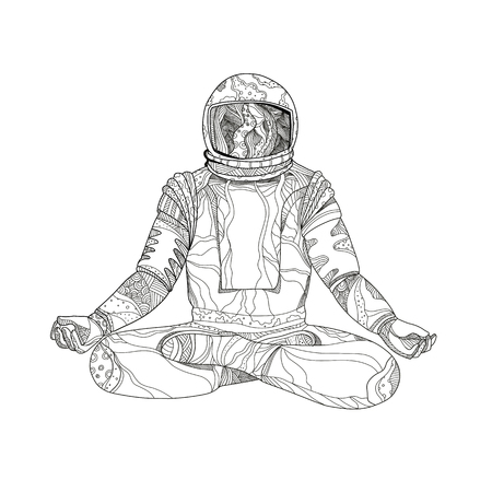 Mandala art illustration of an astronaut, cosmonaut or spaceman sitting asana  with crossed legs in Padmasana lotus meditation or yoga position done in black and white.