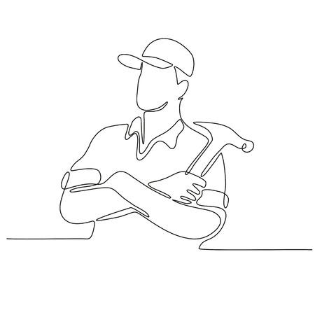 Ciągłe rysowanie linii rąk konstruktora, stolarza lub pracownika budowlanego skrzyżowane z młotkiem wykonanym w stylu szkicu lub doodle.