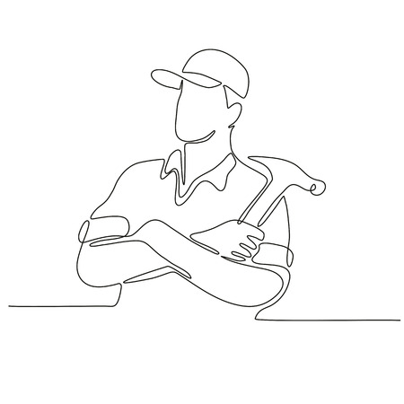 Continuous line drawing illustration of a builder, carpenter or construction worker arms crossed with hammer done in sketch or doodle style.