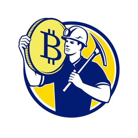 Ilustração retro do estilo do mineiro da criptomoeda com picareta que leva um bitcoin no grupo do ombro dentro do círculo no fundo isolado. Foto de archivo - 94974464