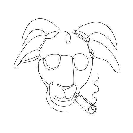Continuous line drawing illustration of a bill goat wearing sunglasses and smoking a cigar viewed from front done in sketch or doodle style.  Illustration