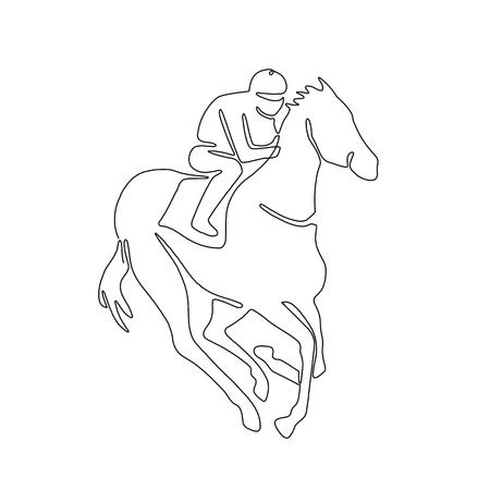 Continu lijntekening illustratie van een jockey rijden op paardenraces gedaan in schets of doodle stijl. Stock Illustratie
