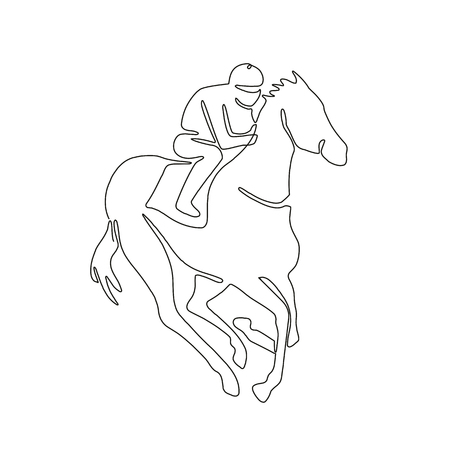 Continuous line drawing illustration of a jockey riding on horse racing done in sketch or doodle style.