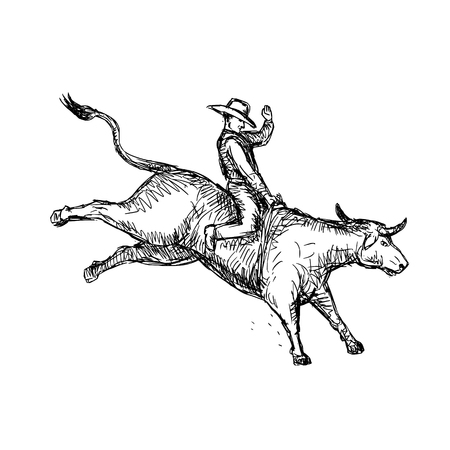 Drawing sketch style illustration of a rodeo cowboy riding a bucking bull on white background.