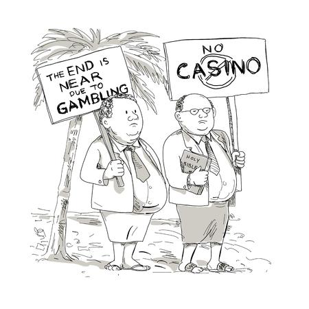 만화 스타일 두 뚱뚱한 사모아 목사의 그림, 장관 또는 교회 입고 재킷, 넥타이, 격리 된 배경에 도박에 대 한 현수막으로 항의 lavalava 누워.