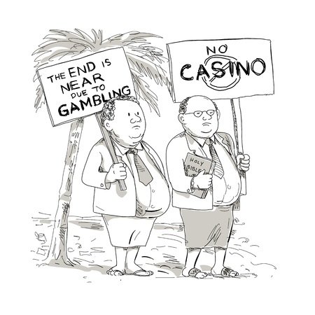 Cartoon style illustration of two fat Samoan preacher, lay minister or church goer wearing jacket, tie and lavalava protesting with placard against gambling on isolated background.