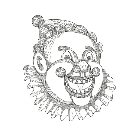 Doodle art illustration of a vintage circus clown head laughing and smiling on isolated background.