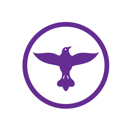 Retro style illustration of a dove, pigeon or columbine spreading its wings viewed from front set inside circle on isolated background.