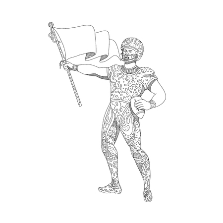 Doodle art illustration of an American football quarterback holding a flag viewed from front done in mandala style. Illustration