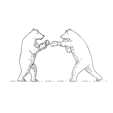 Drawing sketch style illustration of two grizzly bear boxer boxing punching viewed from side on isolated background in black and white. Illustration