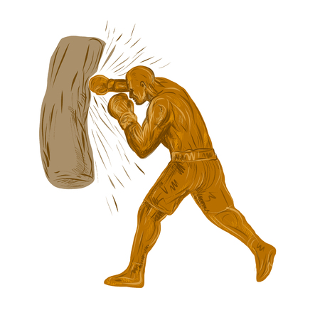 Drawing sketch style illustration of a boxer, pugilist or prize fighter punching a bag viewed from side on isolated background. Illustration
