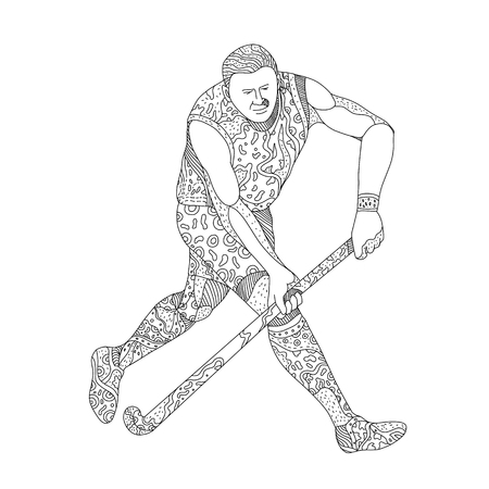 Doodle art illustration of a Field hockey player, a team sport of the hockey family, running with hockey stick done in mandala style on isolated background.
