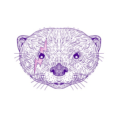 Illustration of an Asian Small-Clawed Otter head with lightning bolt on face near eye done in hand drawing sketch style on isolated background. Çizim