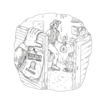 Drawing sketch style illustration of a cowboy robber, bandit or outlaw robbing a saloon with wanted sign and hand on swing door done in black and white. Ilustração