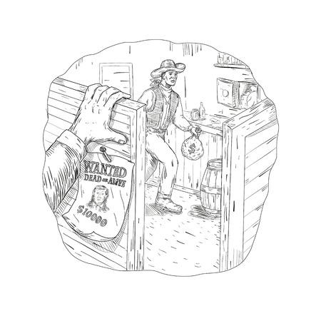 Zeichnungsskizzen-Artillustration eines Cowboyräubers, eines Banditen oder eines Geächteten, die einen Saal mit gewünschtem Zeichen und Hand auf der Schwingtür erfolgt in Schwarzweiss berauben.