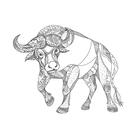 Doodle art illustration of African buffalo,Cape buffalo or Syncerus caffer, a large African bovine charging viewed from front done in black and white.