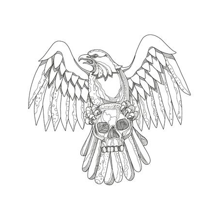 マンダラ風に前から見た翼を持つ頭蓋骨を握りしめるアメリカのハゲワシの落書きアートイラスト。