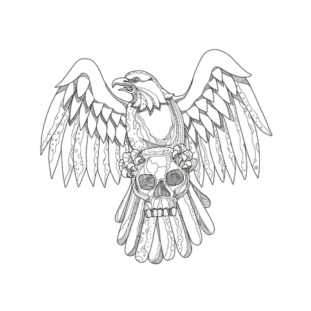 Doodle art illustration of an American bald eagle clutching a skull with wings spread out viewed from front done in mandala style. Illustration