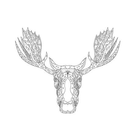 孤立した背景にマンダラスタイルで行われた孤立した背景に正面から見たブルムースまたはエルクヘッドの落書きアートイラスト。  イラスト・ベクター素材
