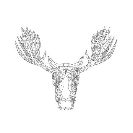 Doodle art illustration of a bull moose or elk head with viewed from front on isolated background done in mandala style on isolated background. Illustration