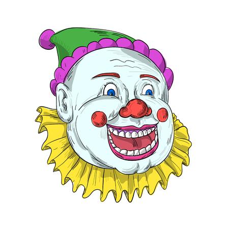 ヴィンテージサーカスピエロパフォーマーの頭のスケッチスタイルのイラストを描き、笑い、笑顔と孤立した背景にスニスターを見ます。