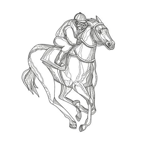 マンダラスタイルで行われた孤立した背景に横から見た騎手や乗馬競馬の落書きアートイラスト。