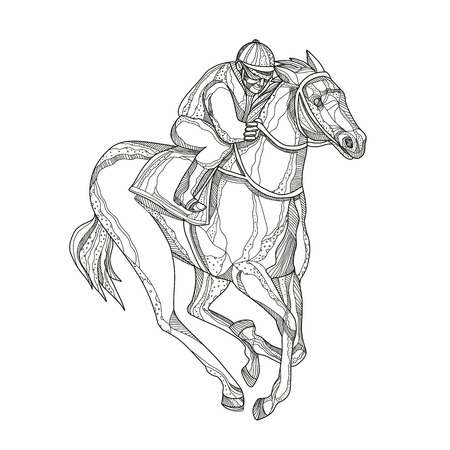 Doodle art illustration of a jockey or equestrian riding horse racing viewed from side on isolated background done in mandala style.