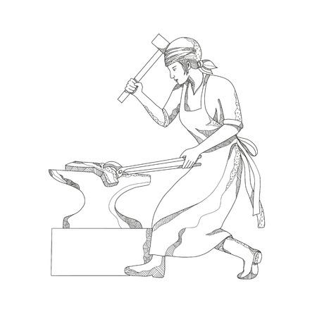 Doodle art illustration of a female blacksmith image