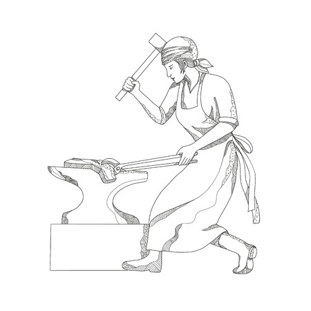 Doodle art illustration of a female blacksmith image