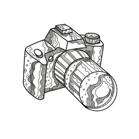 Doodle art illustration of a camera image