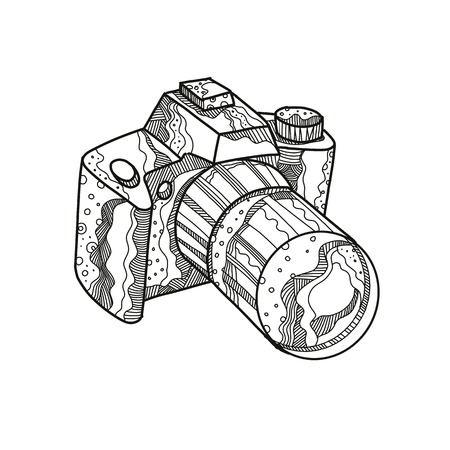 Doodle art illustration of a camera image