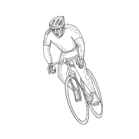 自転車のイメージに乗っているアスリートの落書きアートイラスト