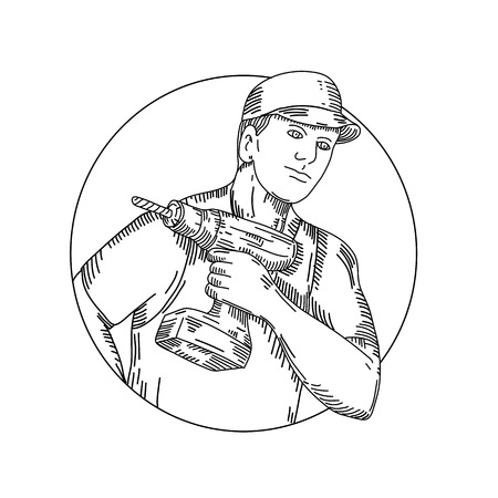 orker holding a cordless drill set inside circle done in black and white.
