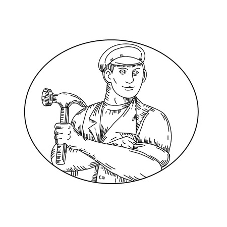 Worker wearing a hat holding a hammer set inside oval done in black and white.